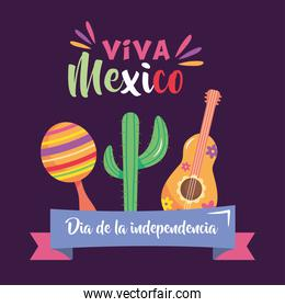 Mexico independence day design with maracas, cactus and guitar
