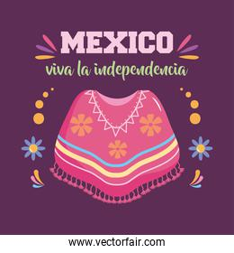 Mexico independence day design with mexican poncho icon