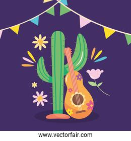 Mexico independence day design with cactus and mexican guitar