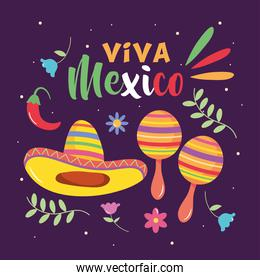 Mexico independence day design with maracas and mexican hat, colorful design