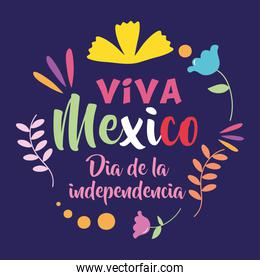 Mexico independence day design with decorative flowers around over blue background