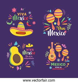 Mexico independence day designs icon set