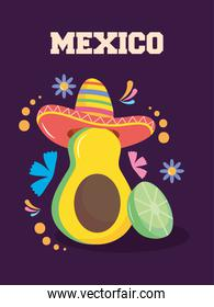 Mexico independence day design with avocado with mexican hat and decorative flowers around