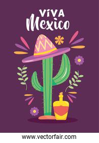 Mexico independence day design with cactus with mexican hat and decorative related icons around