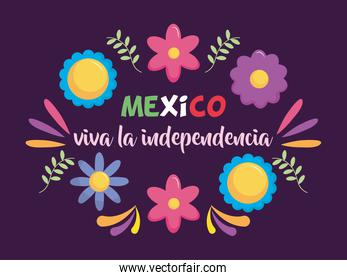 Mexico independence day design with decorative flowers and leaves around