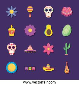 Mexico independence day icon set