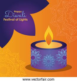 Happy diwali design with beautiful candle icon