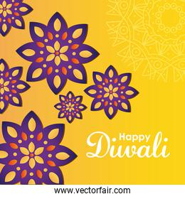 diwali festival design with colorful rangolis