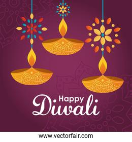 Happy diwali design with diyas and decorative flowers
