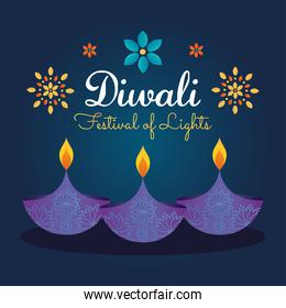 diwali festival design with diyas lamps and flowers