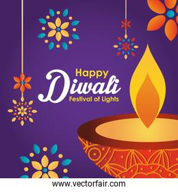 Happy diwali design with diya oil lamp and decorative flowers around