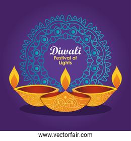 diwali festival design with decorative mandala and diya lamps