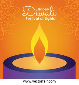 Happy diwali design with candle icon