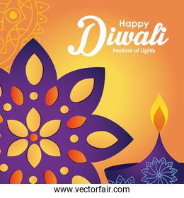 diwali festival design with colorful rangoli and diya over orange background