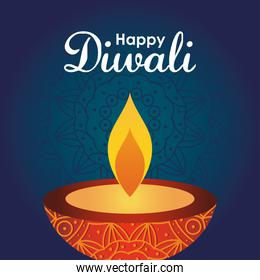 diwali festival design with red diya lamp icon