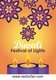 diwali festival design with candles and rangolis