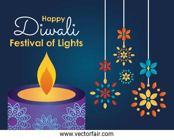Happy diwali design with candle and rangolis hanging