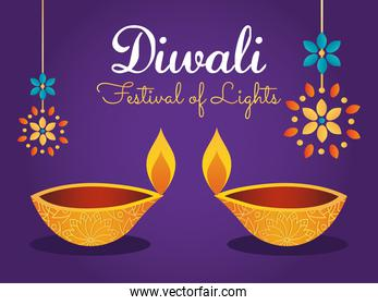 diwali festival design with diyas lamps and colorful rangolis