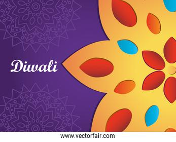 Happy diwali design with colorful flower icon