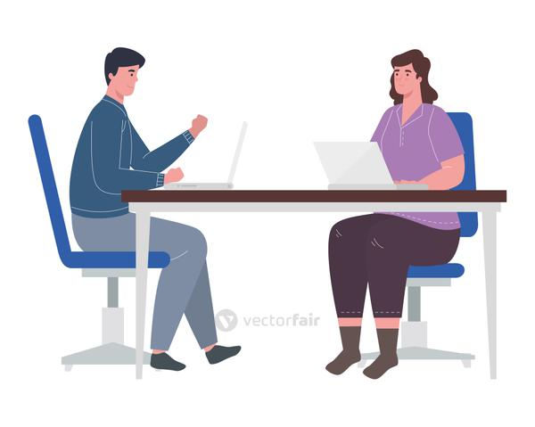 woman and man with laptops at desk working vector design