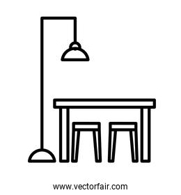office desk with lamp line style icon vector design