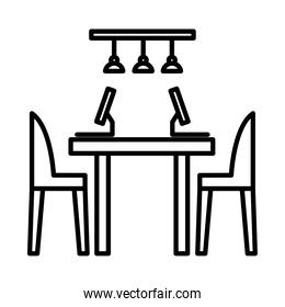 office desk with computers line style icon vector design