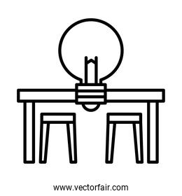 office desk with light bulb line style icon vector design