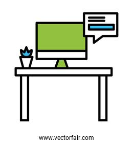office desk with computer and bubble line and colors style icon vector design