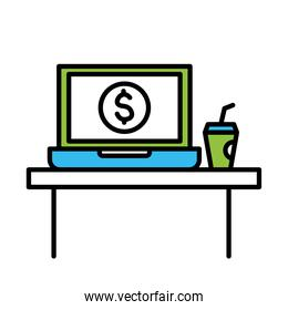 office desk with laptop and coffee mug line and colors style icon vector design