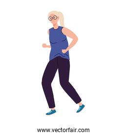 Senior woman cartoon with glasses running vector design