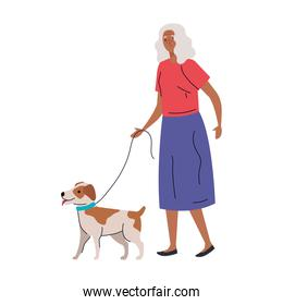 Senior woman cartoon with dog vector design
