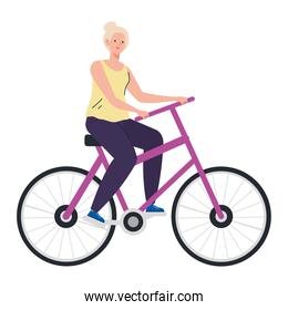 Senior woman cartoon riding bike vector