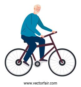 Senior man cartoon riding bike vector design