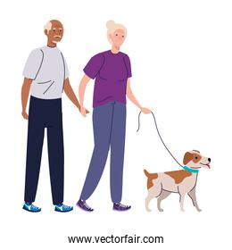 Senior woman and man cartoons with dog vector design