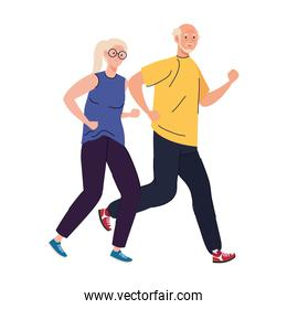 Senior woman and man cartoons running vector design