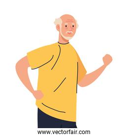 Senior man cartoon running vector design