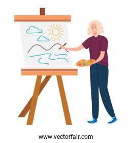 Senior woman cartoon painting vector design