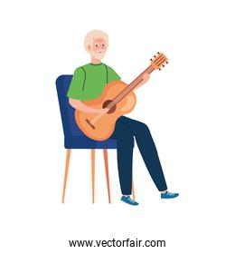Senior man cartoon playing guitar vector design