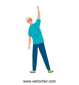 Senior man cartoon with hand up vector design