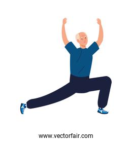 Senior man cartoon stretching vector design