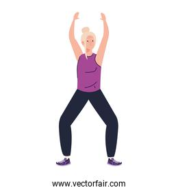 Senior woman cartoon stretching vector design