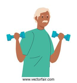 Senior man cartoon lifting weights vector design