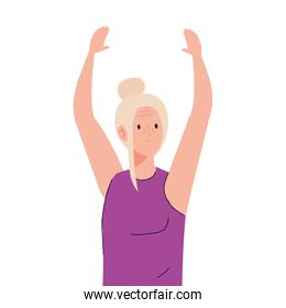 Senior woman cartoon with hands up vector design