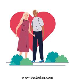 Senior woman and man cartoons in front of heart vector design