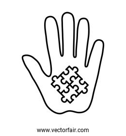 puzzles in hand line style icon vector design