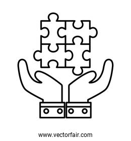 puzzles over hands line style icon vector design