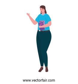 plus size woman cartoon with books vector design