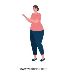 plus size woman cartoon with red shirt vector design