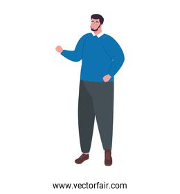 plus size man cartoon with beard and glasses vector design