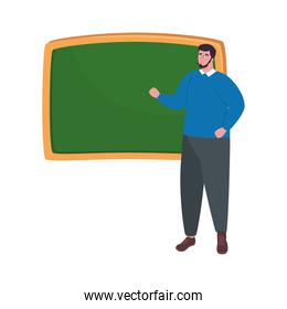 school teacher man with board vector design
